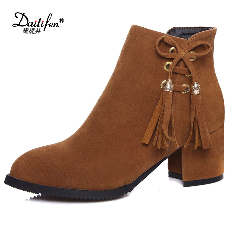 Daitifen Woman Faux Suede Thick High Heel Bow Knot Ankle Boots Fashion Pointed Toe Side Zipper Dress Winter Boots Black Grey fashion bow knot side up strapless party dress deep pink size m