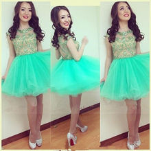 Lovely Short Tulle Homecoming Dresses 2017 New Scoop Beads Appliques Girls Prom Cocktail Party Gowns