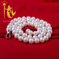 NYMPH Pearl Necklace Fine Pearl Jewelry 8 9MM Freshwater Pearl Necklace Pearl Necklace Women 45CM XL1015