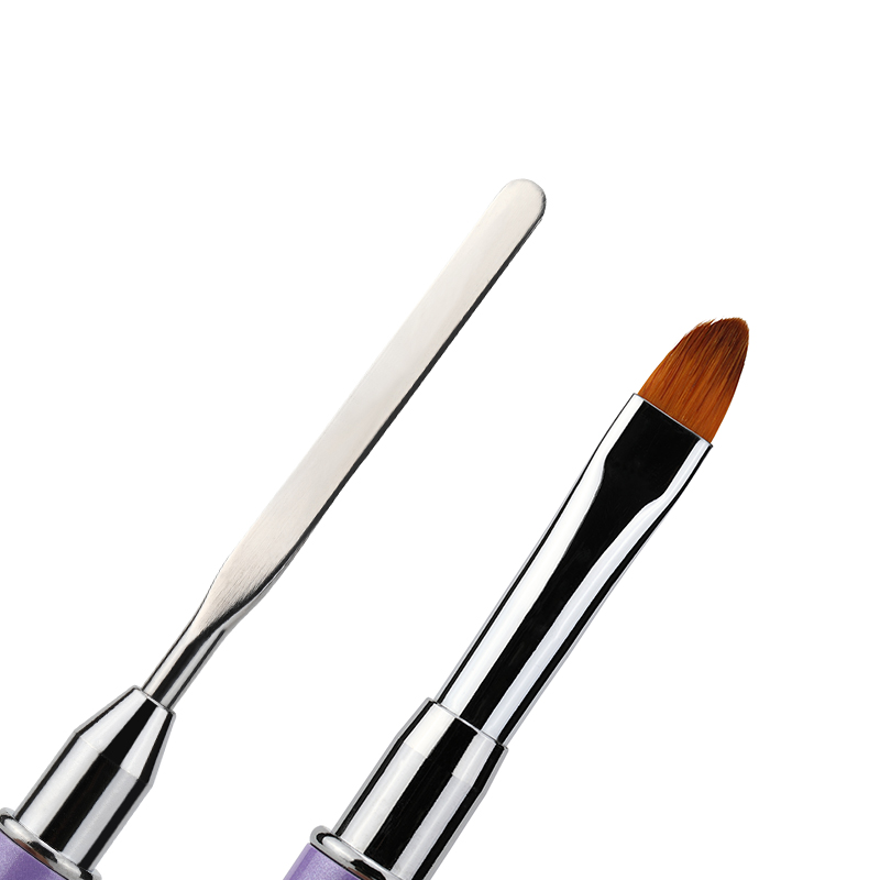 Vrenmol Poly Gel Dual-ended Builder UV Nail Brush Nylon Hair Flat Pusher for Nail Tips Quick Extension Building Carving Pen