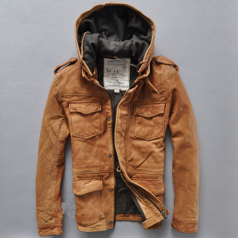 Aliexpress.com : Buy Sand wash sheepskin vintage hooded leather ...
