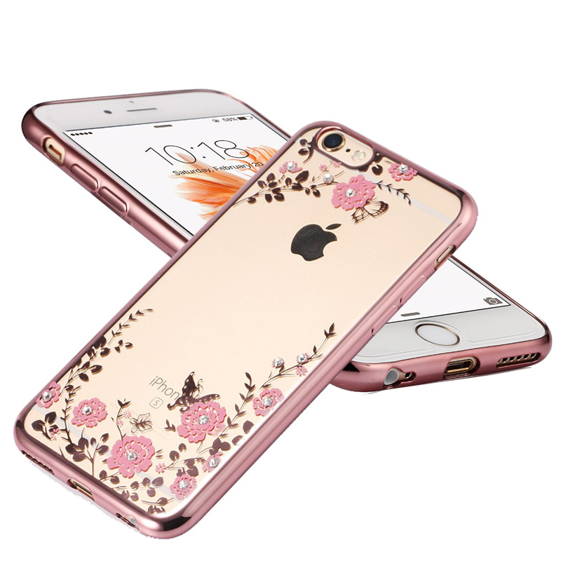 New Rhinestones Luxury Plating TPU Silicone Case For iPhone 7 Cases Plus for iPhone 6 Cases 6s Plus 5s 5 Case Back Cover