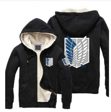 NEW anime Attack on Titan Freedom Wings printing Polyester sherpa men winter jacket coat velvet thick men hoodies hoodie