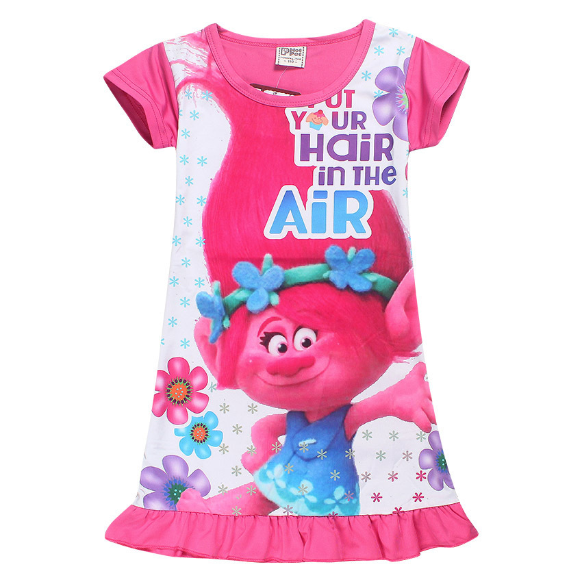 High Quality 2017 Summer Baby Girls Dress Kids Cute Cartoon Trolls Dress Princess Dresses Pajamas Home Dress for girls 3-10Y