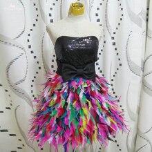 RSE2550 черного цвета с модным блестящим топом платья Милая и воротником с цветочным узором вечерние платья платье с цветными перьями снизу и черным верхом