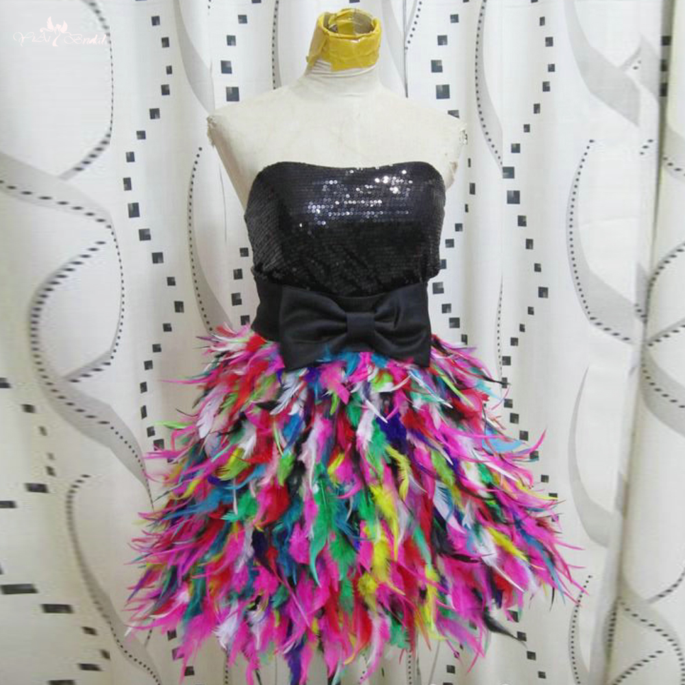 RSE2550 Black Sequin Top Sweetheart Colorful Short Party Dress Feather Cocktail Dresses