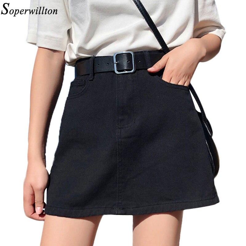 03a31d823cda24 € 12.07 37% de réduction|Street Wear noir rouge Mini jupe en jean avec  ceinture 2019 printemps été femmes une ligne jupe poche Jeans jupe taille  ...