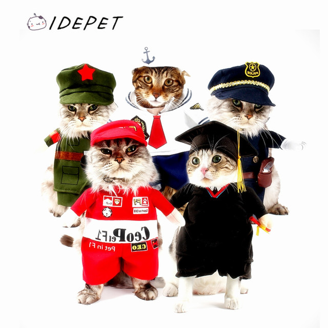 Pet Costume Chat Costume Drôle Chat Vêtements Sexy Infirmière Policier Cowboy Marin Uniforme Chapeau Tenue D'affaires Plus Rapide Gratuite 14