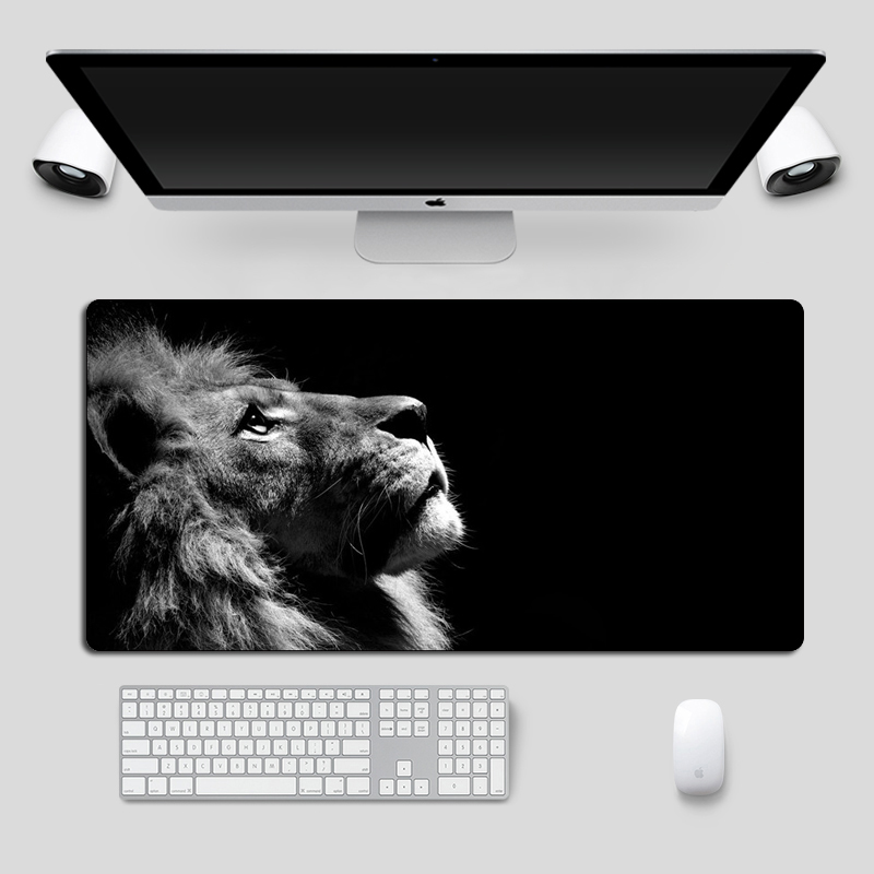 Cool Lion Black Mouse Pad Large Locking Edge Gamer Computer Desk Mat Anime Non-Skid Gaming MousePad Notebook Pc Accessories