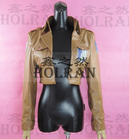 Hot Anime Attack on Titan cosplay costume jacket pu leather coat wholesale hoodie
