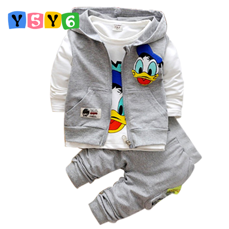 2018 Donald Duck Boys Clothing Sets Kids Autumn Character Cotton Long Sleeve Shirt +Pants+ Vest 3 Pcs Suit Children Clothes Set 18m 5t baby boys clothing sets vest shirt pants 3pcs 2017 long sleeve boys clothes suit elegant kids clothes for boys