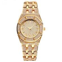 Top marque glacé montre Quartz or HIP HOP montres avec Micro pave Bling CZ en acier inoxydable de luxe bracelet horloge heures