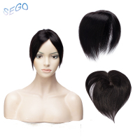 SEGO 6 Inches 10*10 Fine Mono Straight Hair Topper Toupee For Women Off Black 3 Clips in Human Hair Pieces Non Remy Hair 30g