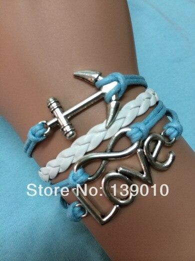 48f858fd65c8 Plata símbolo del infinito encanto pulseras brazaletes personalizados blanco  azul cuerda de cuero moda mujer hombre Unisex Anchor amor joyería en  Pulseras ...