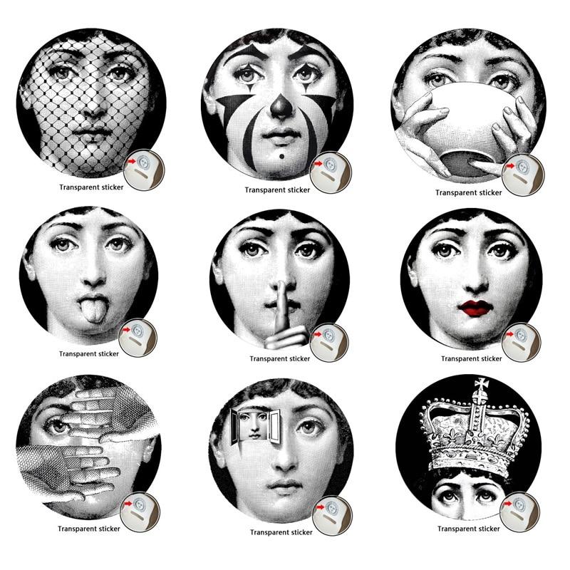 9 частин Мілан Італія Дизайнер fornasetti пластини візерунок шпалери розділені живопис стіни наклейки DIY прикраса стіни 10 дюймів