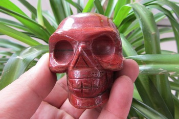 TOP!!! 305g NATURAL Red Snakeskin Jasper Stone CRYSTAL skull healing