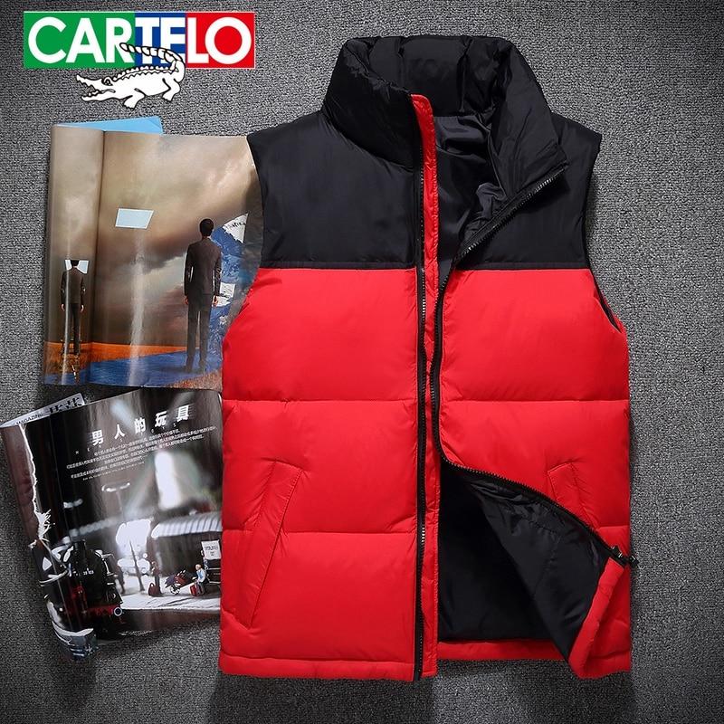 CARTELO Brand new 2017 winter down vest men stand collar ultralight sleeveless jacket waistcoat white duck