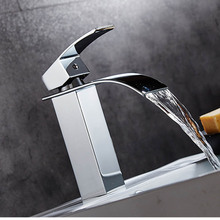 Wholesale And Retail Free Shipping Hot Sale Waterfall Bathroom Faucet Deck Mounted Chrome Brass Vanity Sink Mixer Tap Hot & Cold