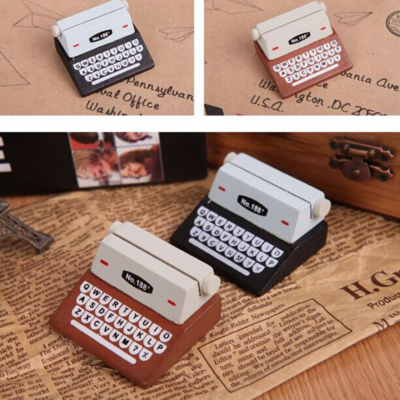2020 Creative Black Coffee Vintage Wooden Typewriter Photo Card Desk Messege Memo Holder Stand Card Holder