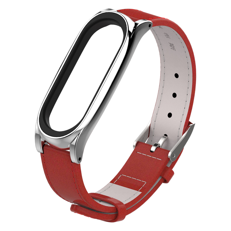 Image 5 - For Xiaomi Mi Band 3 Genuine Leather Strap Metal Frame For MiBand 3 Smart Bracelet XiaoMi Mi Band 3 Replace Strap Accessories-in Smart Accessories from Consumer Electronics