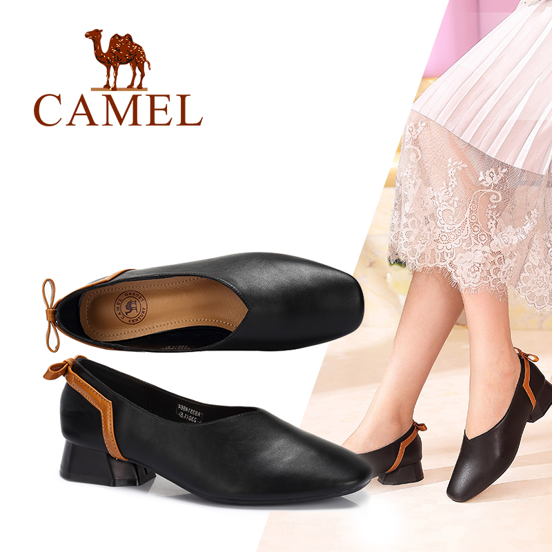 CAMEL Casual Shallow Pumps Women Shoes Low Heels Slip On Pumps Ladies Shoes 2018 New PU Square Toe Single Shoes Soft Beathable brand new fashion casual slip on sweet grey white women shoes solid summer style shoes woman 2 colors low square heels pumps