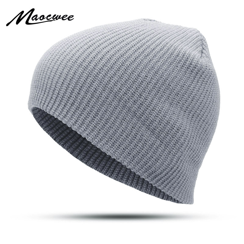 Solid Color Unisex Men Women   Skullies     Beanies   Hedging Cap Knit Knitted Cotton Double Layer Fabric Girl Warm Caps Bonnet Hats