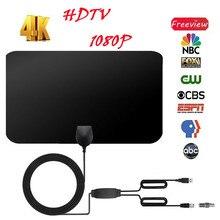 Антенна цифровая HD tv усиленная миля ультра тонкая 100 милей диапазон Крытый 1080P