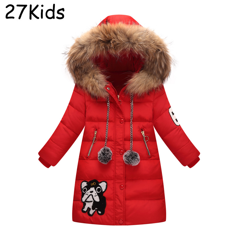 Teenagers Long Winter Warm Down Coat Girls Warm Jackets 90% White Duck Down Jacket With Real Fur Collar Hooded Kids Overcoats high end business man white duck down jacket 2016 models 90% white duck down men outdoors with tops in thick warm coat long coat