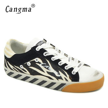 CANGMA Brand Flats Women Sneakers Vintage Shoes Black And White Stripes Horsehair Ladies Footwear Genuine Leather Fashion Shoes