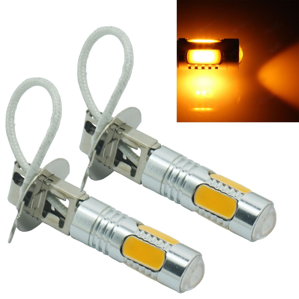 CYAN SOIL BAY 2pcs H3 Bulb 5 COB SMD LED Yellow Fog Light Parking Low High Beam Lamp 7.5W