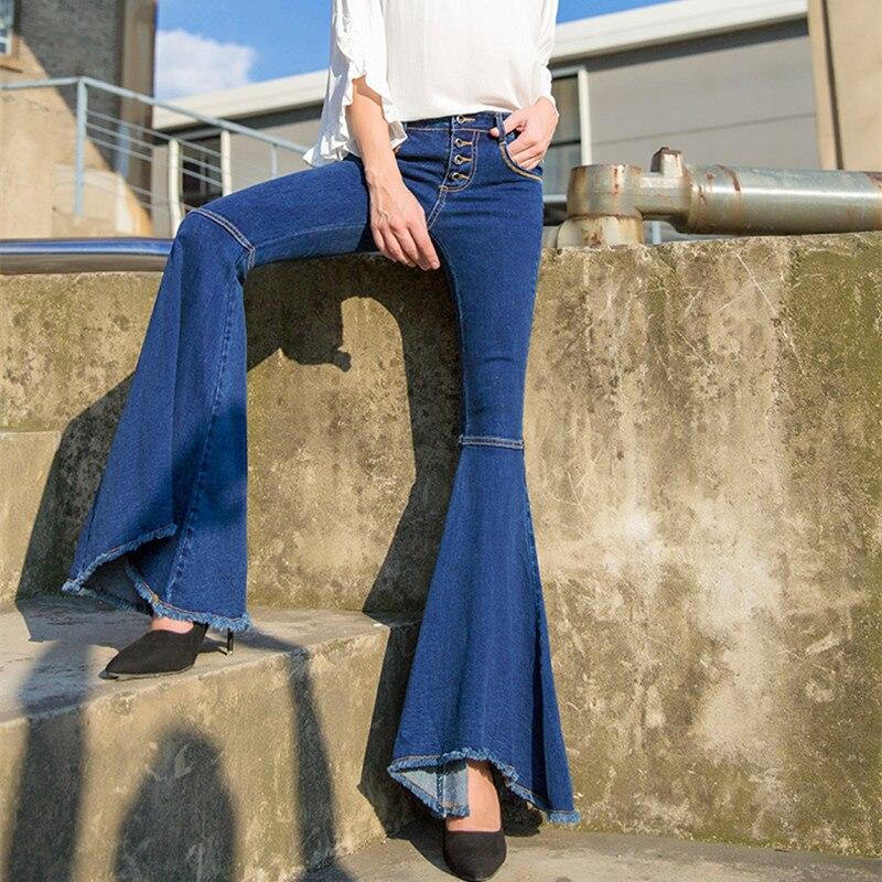Femmes Automne Queue Gratuite Pantalon Taille Jeans De Des Flare Pour Mode Plus Poisson Avec La Grand 30 Denim Boutons Livraison 25 Longues CqUzdxwq5