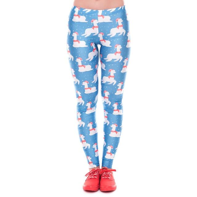 58a29b21d6 2018 Christmas Alpaca 3D Printed Slim Fitness Leggings Women LegginsHigh Waist  Push Up Legging Autumn Winter