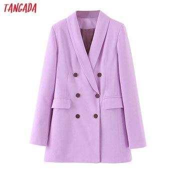 Tangada fashion women purple blazer long sleeve korea style female blazer office ladies new arrival autumn outwear SL404