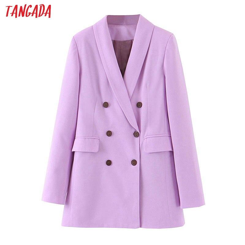 Tangada Модный женский фиолетовый блейзер с длинным рукавом в Корейском стиле Женский блейзер для офиса Новое поступление Осенняя верхняя одежда SL404|Пиджаки|   | АлиЭкспресс - Хиты ZARA на Алиэкспресс