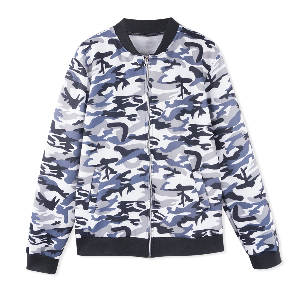 Neatie kiddie Women Spring Autumn Fashion Camouflage Print Slim Coat Basic Jacket O-neck Casual Zipper Loose Outwear Female