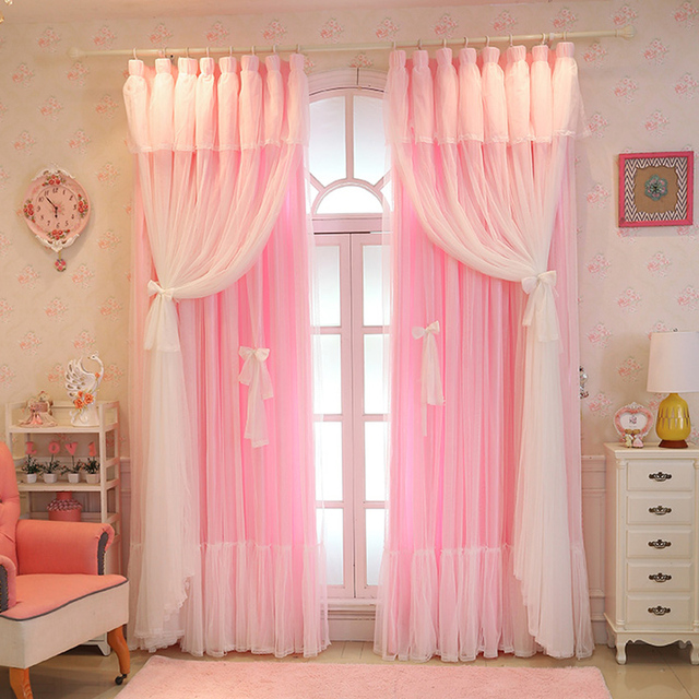 Luxury Solid 3 Colors White Lace Curtains For Living Room Japanese And Korean Style