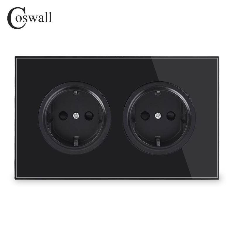Coswall Crystal Tempered Pure Glass Panel 16A Double EU Standard Wall Power Socket Grounded With Child Protective Lock Black