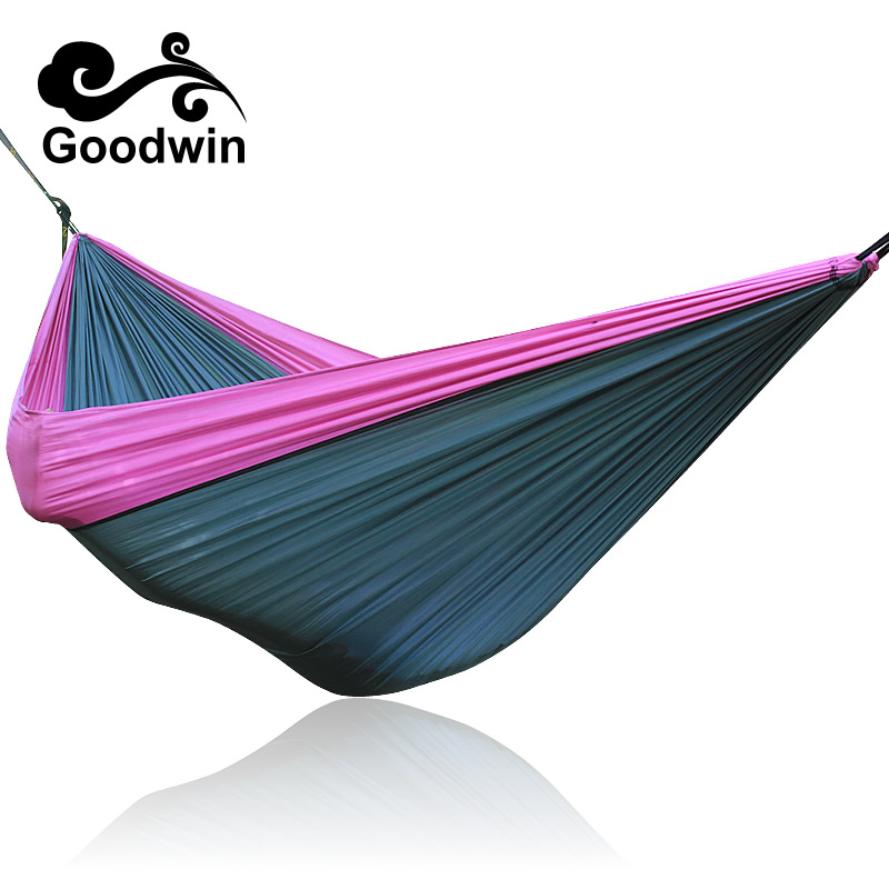 Assorted Color Hanging Sleeping Bed Parachute Nylon Fabric Outdoor Camping Hammocks Double Person Portable Hammock Swing Bed wholesale portable nylon parachute double hammock garden outdoor camping travel survival hammock sleeping bed for 2 person