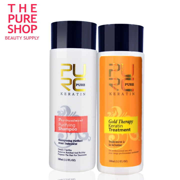 New PURC Gold therapy keratin hair straightening advanced formula best hair care Green apple fragrance 100ml set can use at home