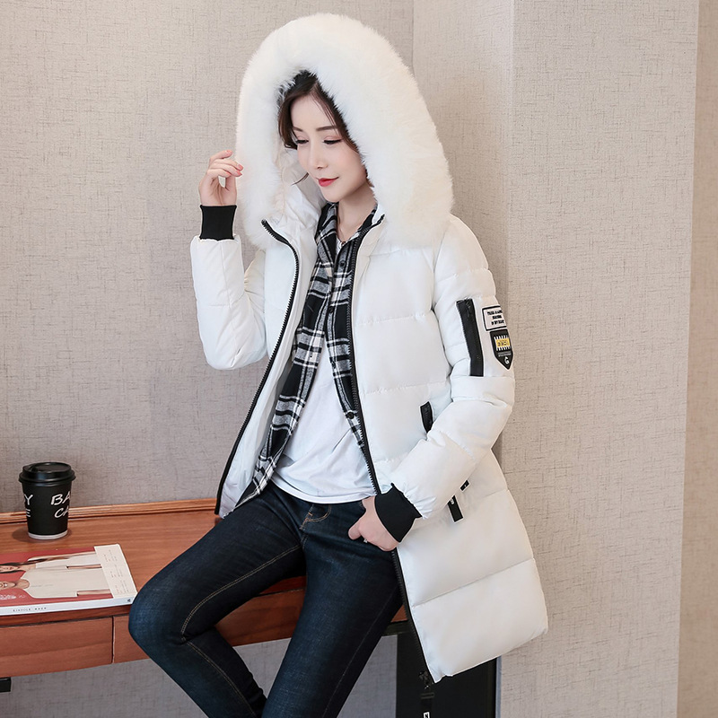 2018 New Fashion Women Winter   Parkas   Fur Collar Hooded Jacket Epaulet Pattern Plus Size Warm Coat Thicken   Parkas   Female Outwears