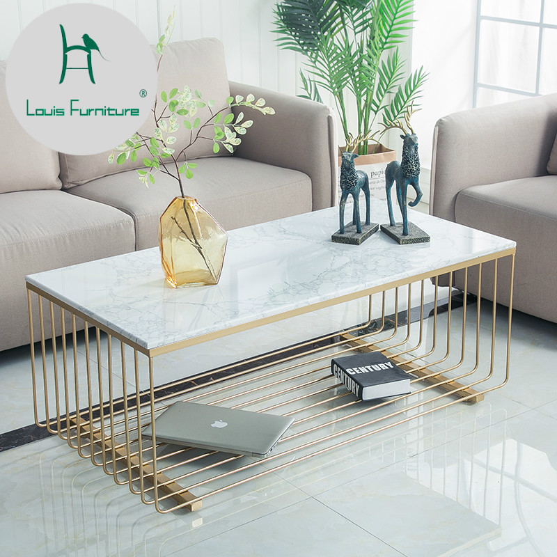 Louis Fashion Coffee Table Nordic Living Room Marble Iron Rectangle Modern Simple Small Apartment Visitor(China)