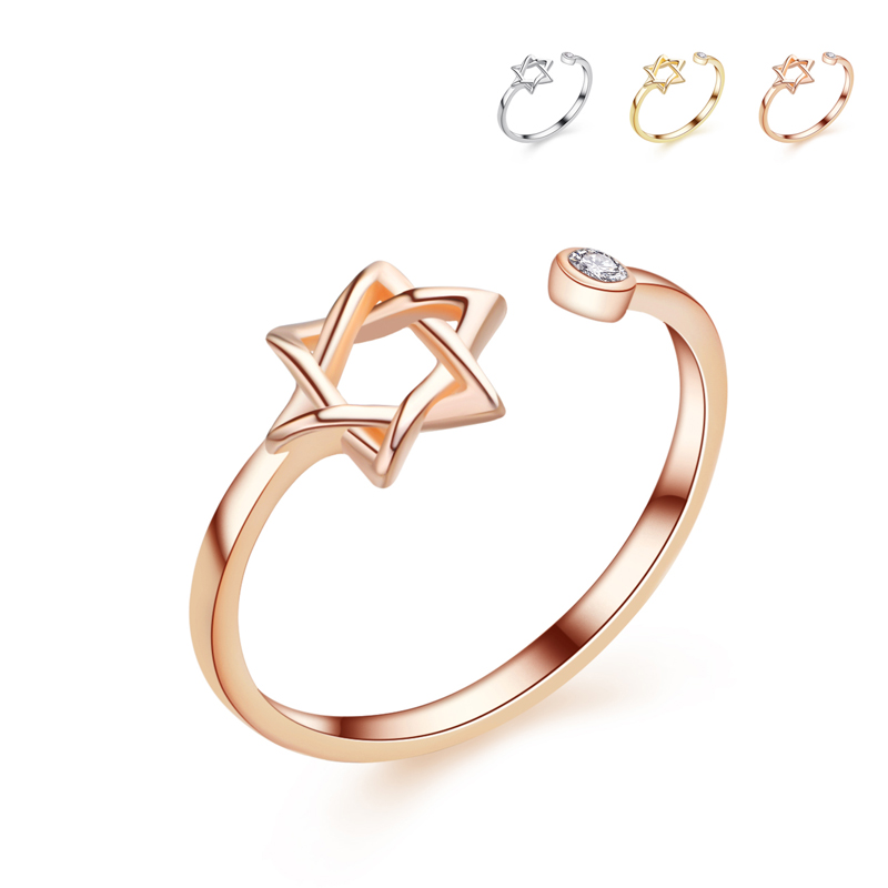 fashion rose plated Five pointed star open adjust size finger ...
