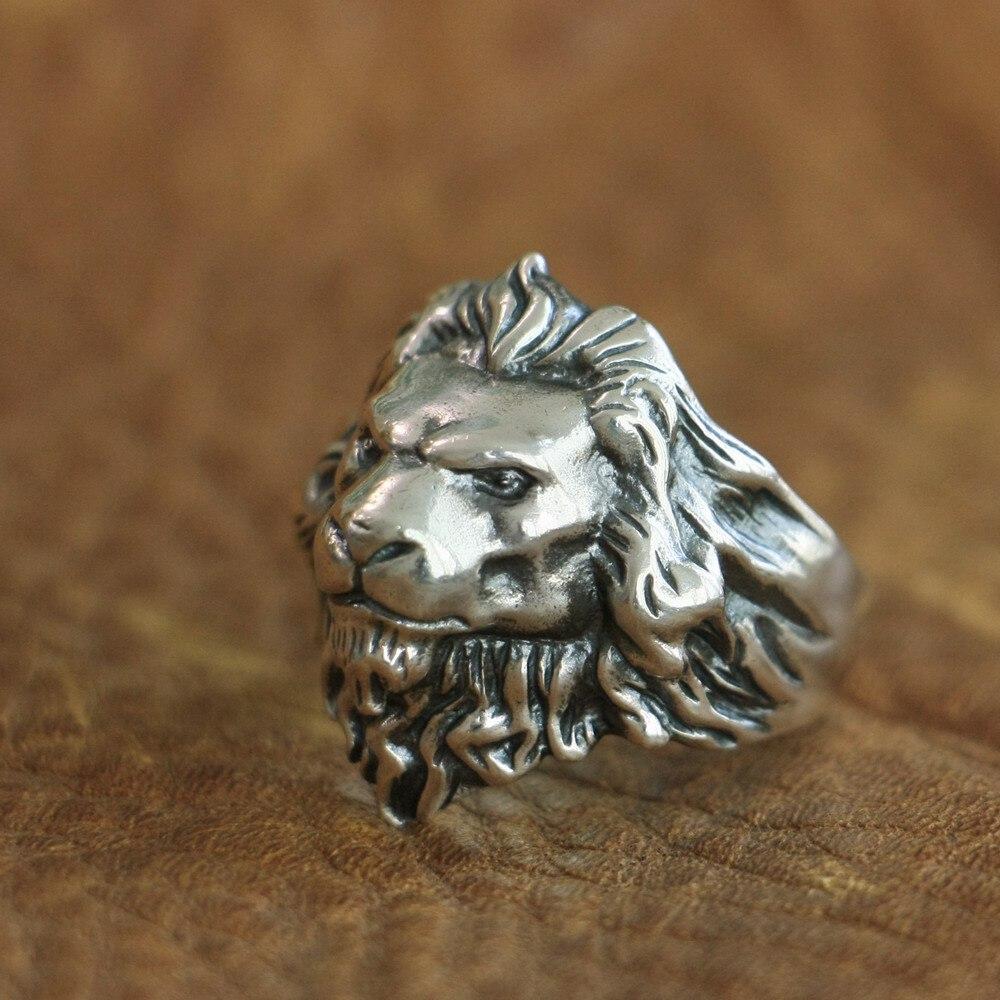 Bague en argent Sterling 925 avec roi de Lion, détails élevés, bague Punk pour motard TA109A