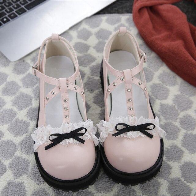 Sapato primavera verão 2019 amigos ulzzang harajuku lolita sapatos estilo coreano moda do vintage doce rendas arco mulheres cosplay sapatos