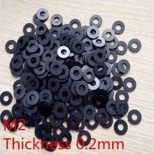 цена на 100pcs  M2 Thickness 0 .2 mm High Precision Black Color Polyslider Graphite Nylon Flat Washer