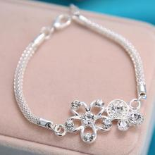 stainless steel flower bracelet charm bracelet & bangles for women unique design chain Punk style fashion jewelry