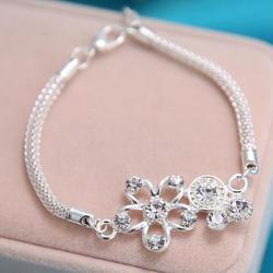 stainless steel flower bracelet charm bracelet & bangles for women unique design chain Punk style fashion jewelry