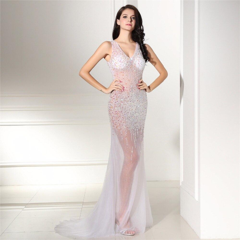 1e46387ed ᗖVestido de noche de sirena sexy 2017 Ver a través de robe de ...