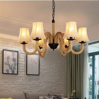 American hemp rope chandelier multi heads restaurant bar cafe bedroom living room  light retro headlight cloth pendant lamp