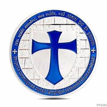 Caballeros Templarios bañados en plata, Token de Cruz europea, Souvenir, colecciones de monedas, Y110-Dropshipping 1 unidad
